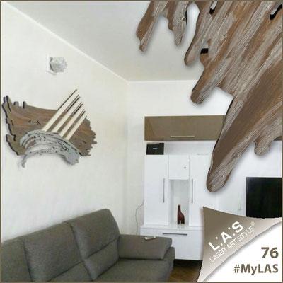 A casa di Rosalba e Filippo <br> Abitazione privata | Italia </br> Codice: SI-253 | Misura: 155x87 cm </br>  **PERSONALIZZATO** Colore: decoro grigio marrone argento - applicazioni panna