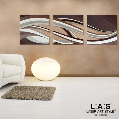 Quadri Astratti </br> Codice: SI-114A | Misura: 3 pz 60x60 cm/cad </br> Colore: decoro marrone-incisione legno