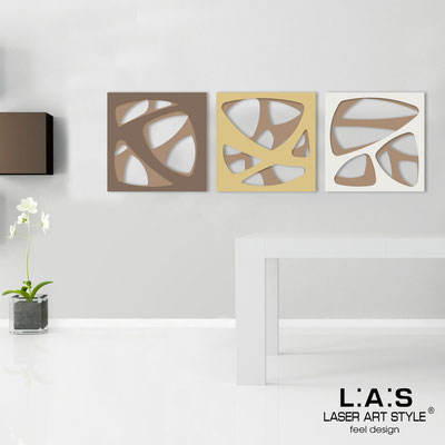 Abstract wall sculptures </br> Code: SI-146 | Size: 3pz 45x45 cm/cad </br> Code: SI-146L | Size: 3pz 60x60 cm/cad </br> Colour: hazel/dove grey-camel-cream