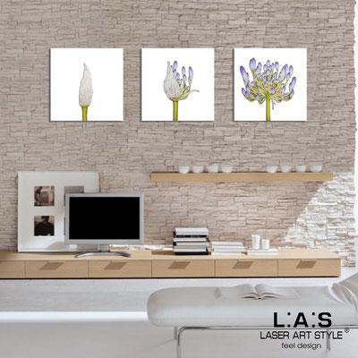 Quadri Floreali </br>  Codice: SI-101   Misura: 3pz 45x45 cm/cad </br>  Colore: bianco-decoro lilla-incisione legno