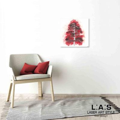 Quarantotto </br>  Codice: Q-004 | Misura: 48x48 cm </br> Colore: decoro rosso-incisione legno
