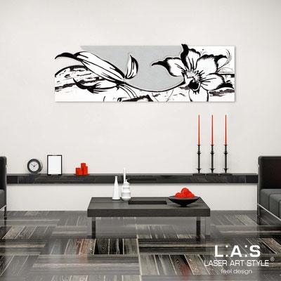 Quadri Floreali </br>  Codice: SI-074-B   Misura: 180x65 cm </br>  Colore: bianco-argento-decoro nero-incisione tono su tono