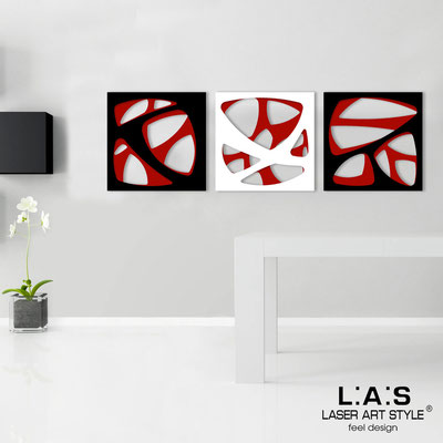 Abstract wall sculptures </br> Code: SI-146 | Size: 3pz 45x45 cm/cad </br> Code: SI-146L | Size: 3pz 60x60 cm/cad </br> Colour: red/black-white-black