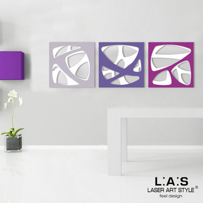 Abstract wall sculptures </br> Code: SI-146 | Size: 3pz 45x45 cm/cad </br> Code: SI-146L | Size: 3pz 60x60 cm/cad </br> Colour: white/wistaria-purple-violet