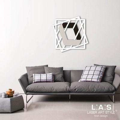 Quadri Astratti </br> Codice: SI-302 | Misura: 85x85 cm </br> Colore: bianco-nero-incisione legno
