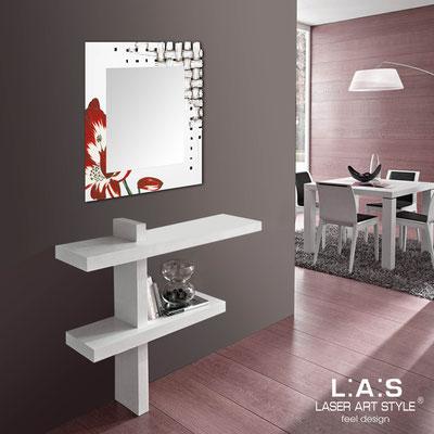 Specchiere </br> Codice: SI-075Q-SP | Misura: 90x90 cm </br>  Colore: bianco-decoro rosso-incisione legno