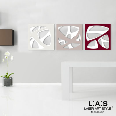 Abstract wall sculptures </br> Code: SI-146 | Size: 3pz 45x45 cm/cad </br> Code: SI-146L | Size: 3pz 60x60 cm/cad </br> Colour: white/cream-powder-burgundy