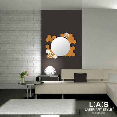 Specchiere </br> Codice: SI-311 | Misura: 90x75 cm </br>  Colore: arancio medio-panna-incisione tono su tono