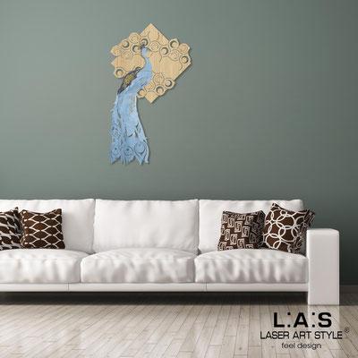 Figurative wall sculpture </br> Code: W-336M | Size: 70x120 cm </br> Colour: natural wood-bluette decoration-wood engraving