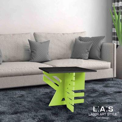 Complementi d'arredo </br> Codice: SI-363 | Misura: 60x60 h50 cm </br> Colore: nero-verde acido-incisione legno