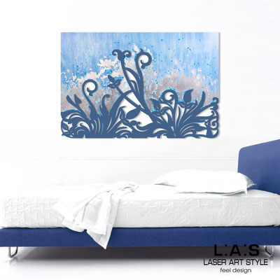 Abstract wall sculptures </br> Code: SI-135 | Size: 150x100 cm </br> Code: SI-135M | Size: 100x67 cm </br> Colour: light blue silver leaf decoration-denim