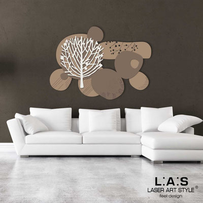 Floral wall sculpture </br> Code: SI-272 | Size: 120x90 cm </br> Colour: hazel-dove grey-cream