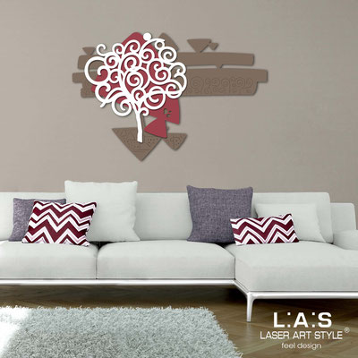 Floral wall sculpture </br> Code: SI-355 | Size: 150x100 cm </br> Colour: dove grey-violet red-white