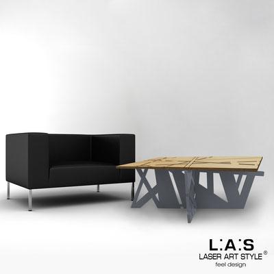 Complementi d'arredo </br> Codice: MW-295 | Misura: 100x60 h40 cm </br> Colore: natural wood-antracite-acciaio inox-incisione legno