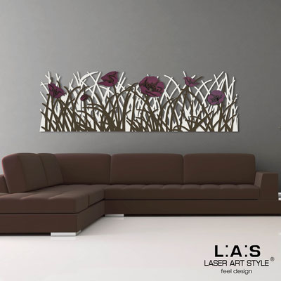 Floral wall sculpture </br> Code: SI-214 | Size: 180x55 cm </br> Colour: cream-brown-purple decoration