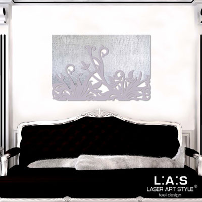 Abstract wall sculptures </br> Code: SI-135 | Size: 150x100 cm </br> Code: SI-135M | Size: 100x67 cm </br> Colour: silver leaf stucco decoration-wistaria