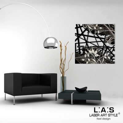 Abstract wall sculptures </br> Code: SI-110Q | Size: 90x90 cm </br> Colour: black-cream engraving