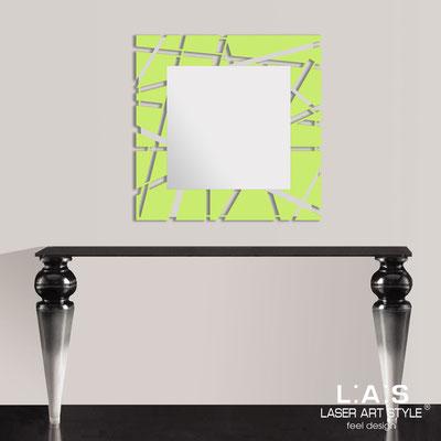 Specchiere </br> Codice: SI-095Q-SP | Misura: 90x90 cm </br>  Colore: verde acido-acciaio inox
