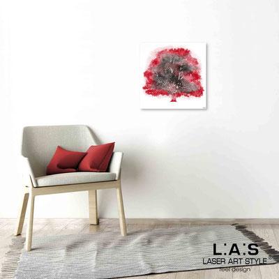 Quarantotto </br>  Codice: Q-006 | Misura: 48x48 cm </br> Colore: decoro rosso-incisione legno
