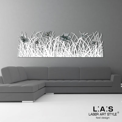 Floral wall sculpture </br> Code: SI-214 | Size: 180x55 cm </br> Colour: light grey-white-grey decoration