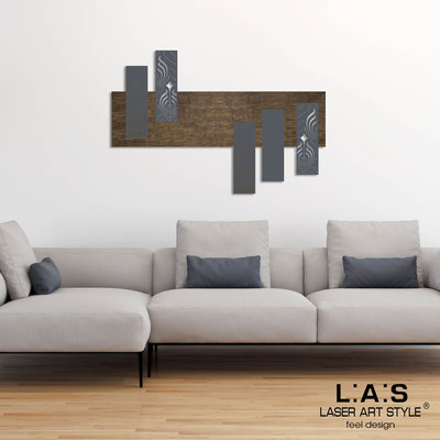 Abstract wall sculptures </br> Code: SI-353 | Size: 150x100 cm </br> Colour: flax decoration-charcoal grey-wood engraving