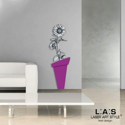 Floral wall sculpture </br> Code: SI-179-B | Size: 57x178 cm </br> Colour: violet-black decoration-wood engraving