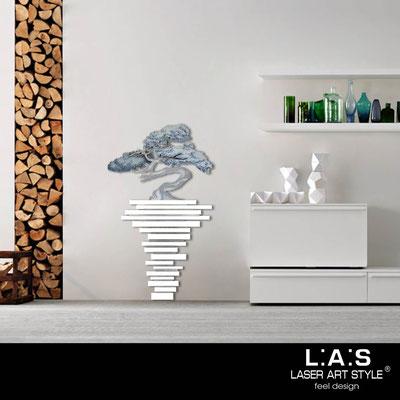 Quadri Floreali </br>  Codice: SI-192-H | Misura: 73x123 cm </br>  Colore: bianco-decoro toni freddi-incisione legno