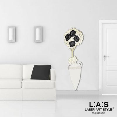 Floral wall sculpture </br> Code: SI-181-D | Size: 56x177 cm </br> Colour: cream-black decoration-wood engraving