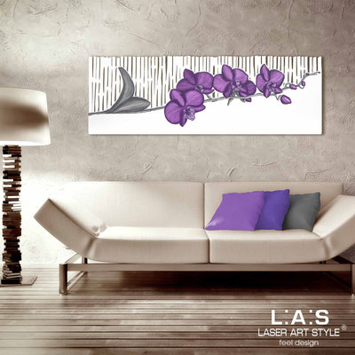 Floral wall sculpture </br> Code: SI-087-B | Size: 148x50 cm </br> Colour: white-purple decoration-matched engraving