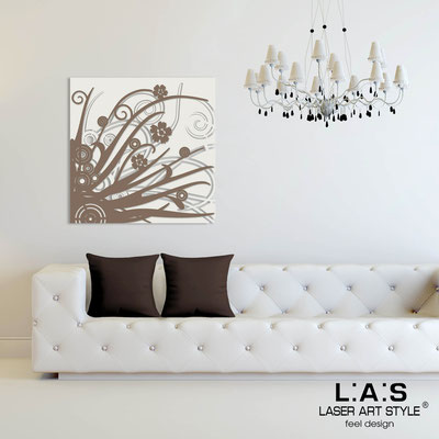 Abstract wall sculptures </br> Code: SI-107Q | Size: 90x90 cm </br> Colour: cream-dove grey