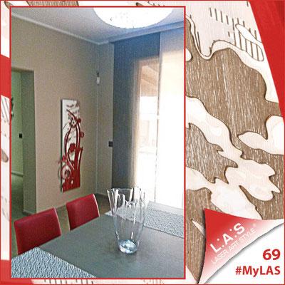 A casa di Giuseppe e Monia <br> Abitazione privata | Italia </br> Codice: SI-106 | Misura: 148x60 cm <br> **PERSONALIZZATO** Colore: bianco - applicazione rosso