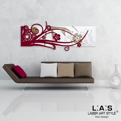Abstract wall sculptures </br> Code: SI-106 | Size: 148x60 cm </br> Colour: white-burgundy-wood engraving