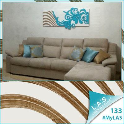 A casa di Giovanna  <br> Abitazione privata   Italia </br> Codice: SI-134   Misura: 150x60 cm <br> Colore: bianco-turchese-incisione legno
