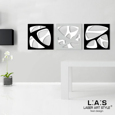 Abstract wall sculptures </br> Code: SI-146 | Size: 3pz 45x45 cm/cad </br> Code: SI-146L | Size: 3pz 60x60 cm/cad </br> Colour: white/black-silver-black