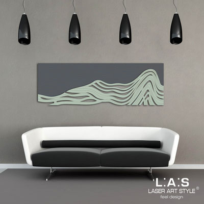 Figurative wall sculpture </br> Code: SI-178 | Size: 180x60 cm </br> Colour: charcoal grey-grey green-wood engraving