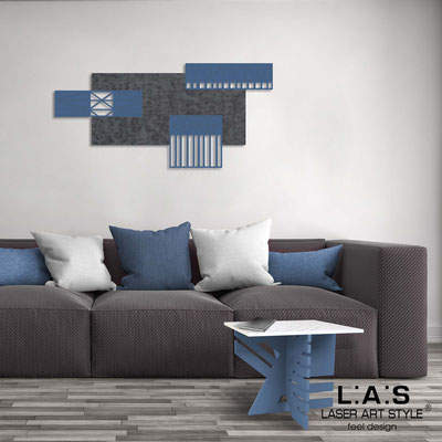 Abstract wall sculptures </br> Code: SI-352 | Size: 125x60 cm </br> Colour: concrete decoration-denim-wood engraving