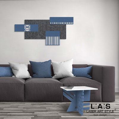 Abstract wall sculptures </br> Code: SI-352 | Size: 125x60 cm </br> Colour: concrete decoration-denim-wood engraving