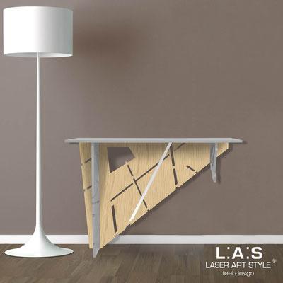 Complementi d'arredo </br> Codice: MW-292 | Misura: 120x40 h80 cm </br> Colore: cemento-natural wood-acciaio inox-incisione tono su tono