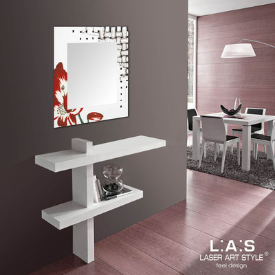 Mirrors </br> Code: SI-075Q-SP | Size: 90x90 cm </br>  Colour: white-red decoration-wood engraving