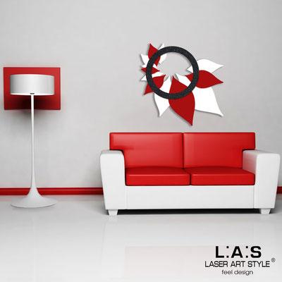 Quadri Floreali </br>  Codice: SI-209   Misura: 90x90 cm </br>  Colore: bianco-rosso-decoro stucco nero