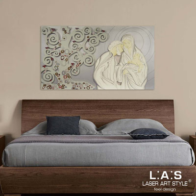 Sacred wall sculptures </br> Code: SI-173 | Size: 125x70 cm </br> Colour: silver-light grey-cold shades decoration