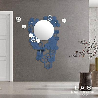 Complementi d'arredo </br> Codice: SI-315 | Misura: 100x150 cm </br> Colore: blu distante-bianco-incisione tono su tono