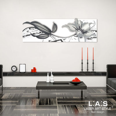 Floral wall sculpture </br> Code: SI-074-B | Size: 180x65 cm </br> Colour: white-white-grey decoration-matched engraving
