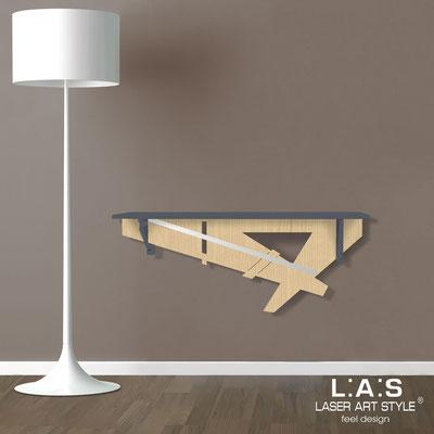 Complementi d'arredo </br> Codice: MW-291 | Misura: 110x30 cm </br> Colore: antracite-natural wood-acciaio inox-incisione tono su tono