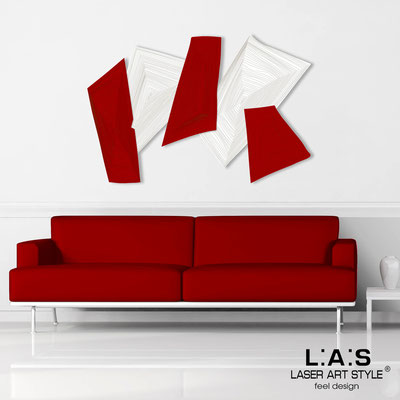Abstract wall sculptures </br> Code: SI-148 | Size: 150x100 cm </br> Colour: white-red-wood engraving