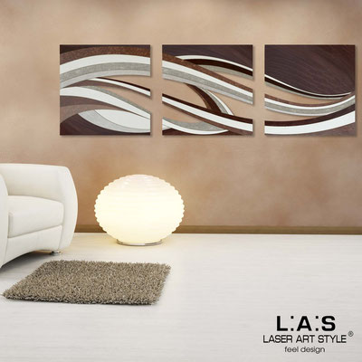 Abstract wall sculptures </br> Code: SI-114A | Size: 3pz 60x60 cm/cad </br> Colour: brown decoration-wood engraving