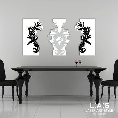 Abstract wall sculptures </br> Code: SI-251 | Size: 150x87 cm </br> Colour: white/black-silver-black