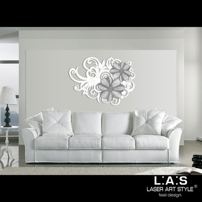 Floral wall sculpture </br> Code: SI-100 | Size: 150x100 cm </br> Code: SI-100M | Size: 100x67 cm </br> Colour: white-grey decoration-matched engraving