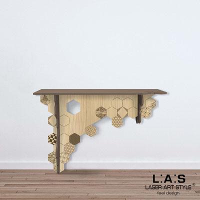 Complementi d'arredo </br> Codice: MW-314 | Misura: 120x40 h80 cm </br> Colore: grigio marrone-natural wood-incisione legno