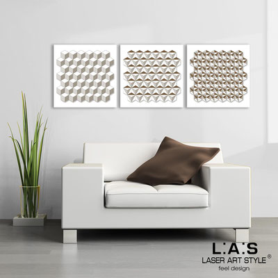 Abstract wall sculptures </br> Code: SI-143 | Size: 3pz 45x45 cm/cad </br> Colour: white-white-wood engraving